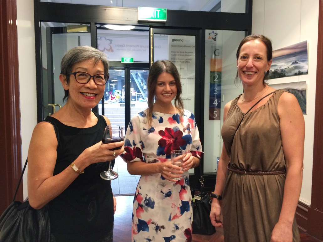 PSC teacher/curator Julie Wajs with PSC students Margaret Lim and Cassandra Tzortzoglou