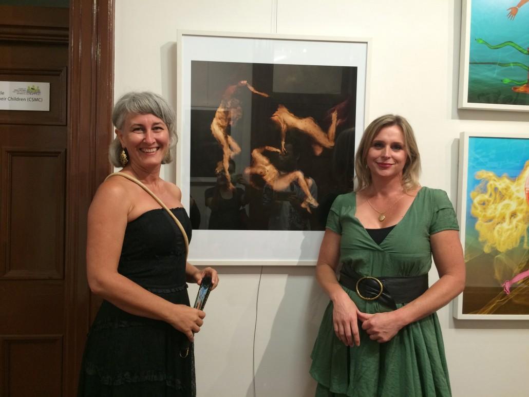 Sarah Maslan with her work and Elma Gradascevic