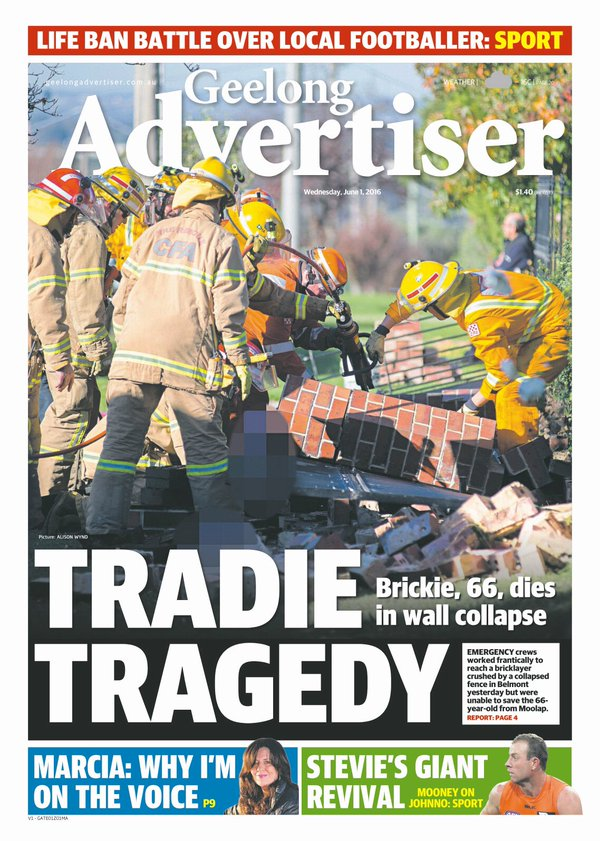 Justice's photography made front page of the Geelong Advertiser