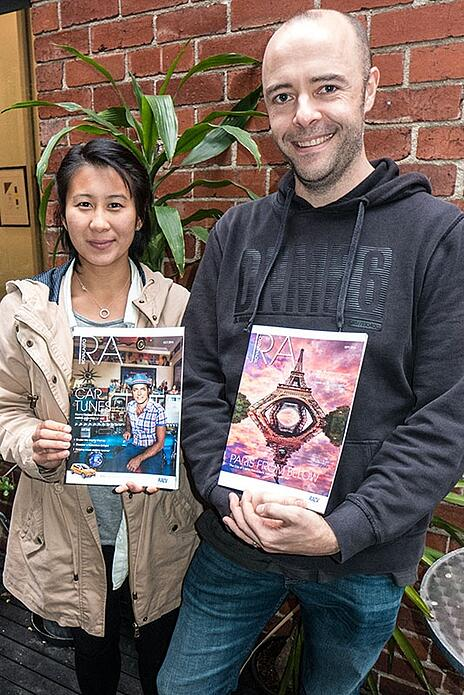 2015 PJ students Ashleigh Wong and Daniel Pockett with copies of RoyalAuto magazine in which their photographs were recently featured